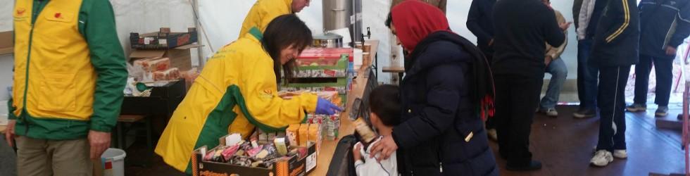 Flüchtlingshilfe nahe der deutsch-österreichischen Grenze